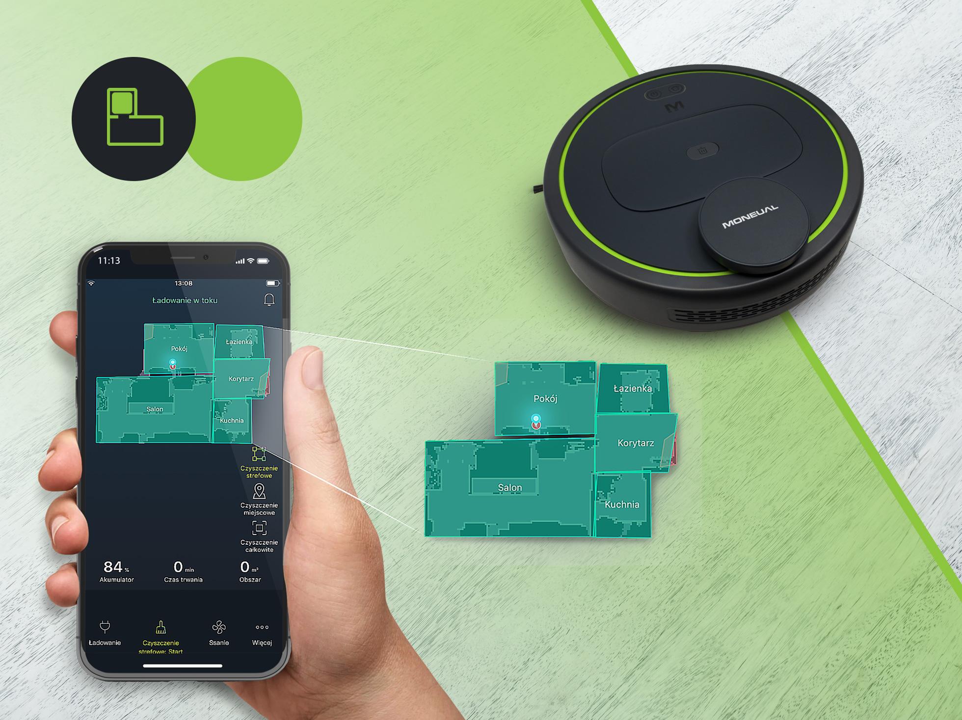 Wygodna i przejrzysta aplikacja w języku polskim, ułatwi ci streowanie automatycznym robotem.