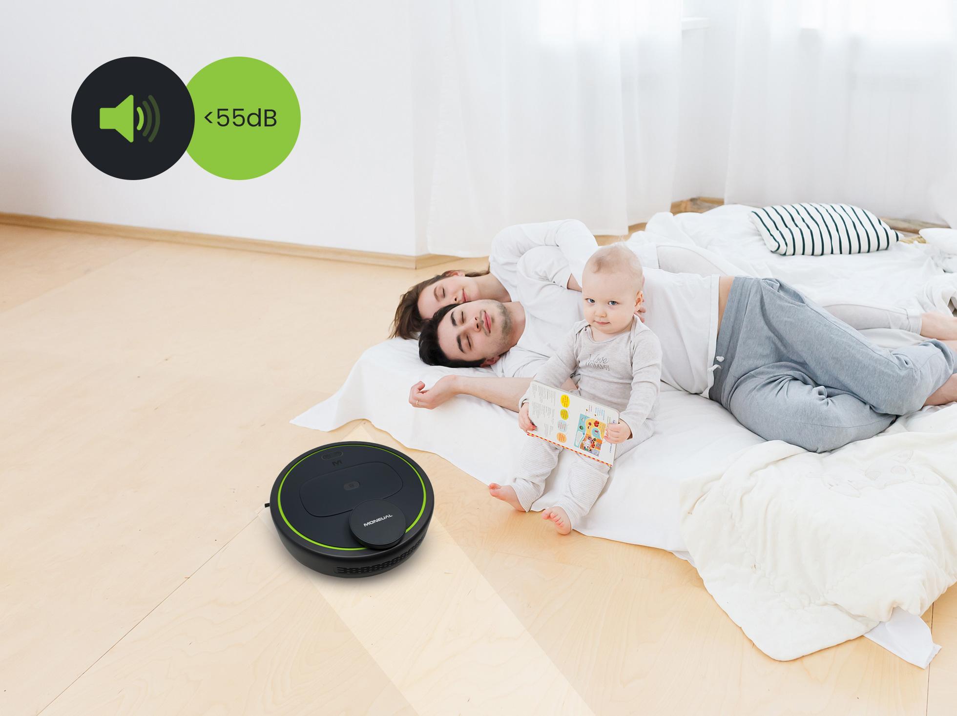 Mbot 950 jest cichy dzięki temu rodzna odpoczywa a robot sprazta nie przeszkadzająć im w relaksie
