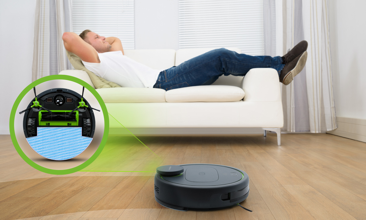 Ty leżysz a robot sprzata za Ciebie, może odkurzać i mopwoac jednocześnie.