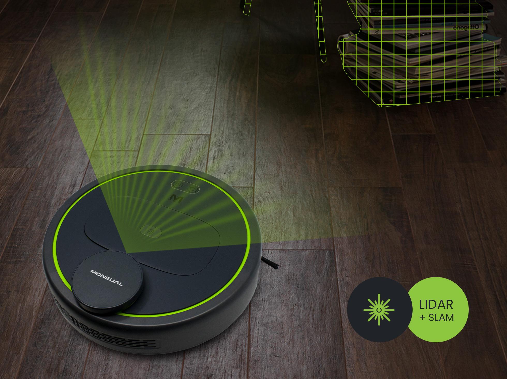 Automatyczny robot z laserowym systemem umożliwiającym precyzyjne odnajdowanie się w mieszkaniu, skanuje wokoł siebie.