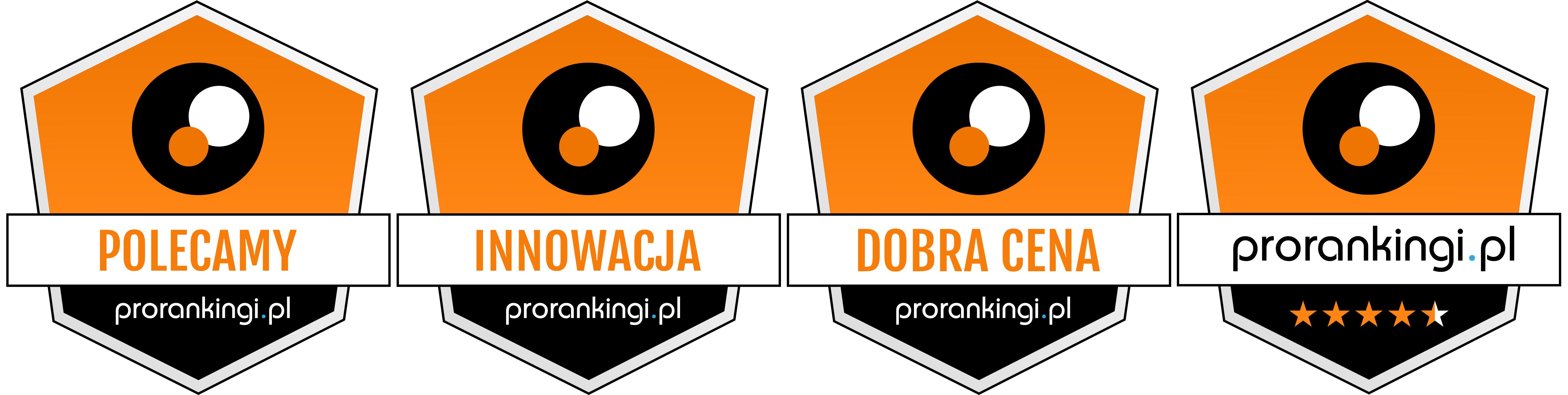 Moneual MBOT 950 otrzymał 4 odznaki w teście prorankingi.pl: polecany; innowacyjny; dobra cena, 4,5 gwiazdki na 5