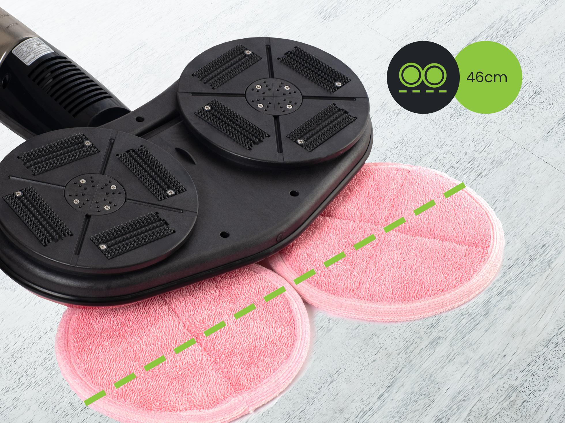 Szerokie głowice ułatwiają sprzątanie i prowadzenie mopa elektrycznego