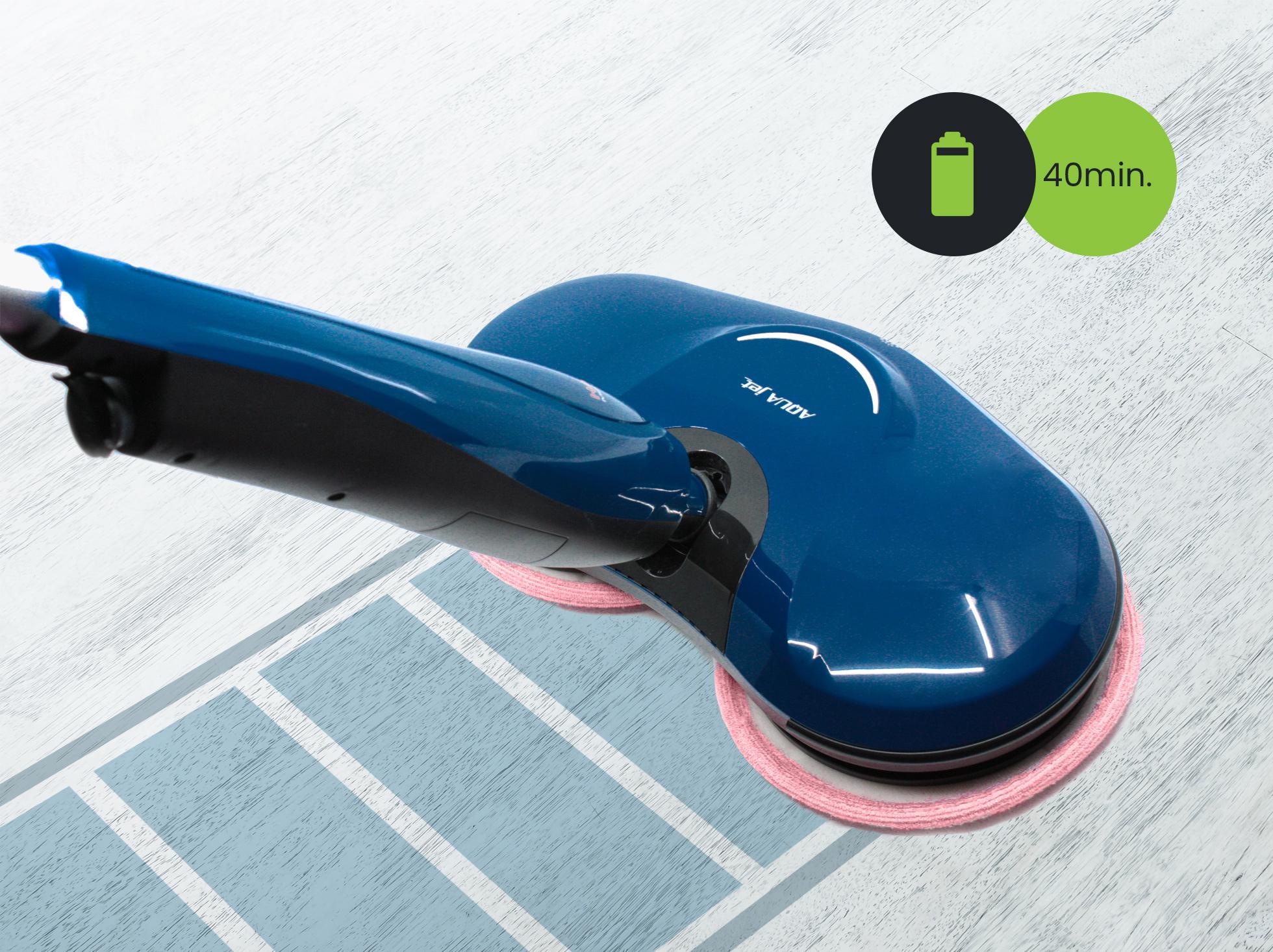 Dzięki wydajnej baterii mop elektryczny może pracować do 40min