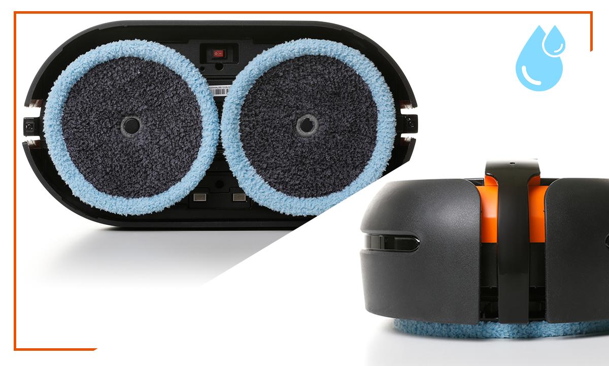 Robot mopujący posiada duże tarcze obrotowe z wysokiej jakości ściereczkami z mikrofibry