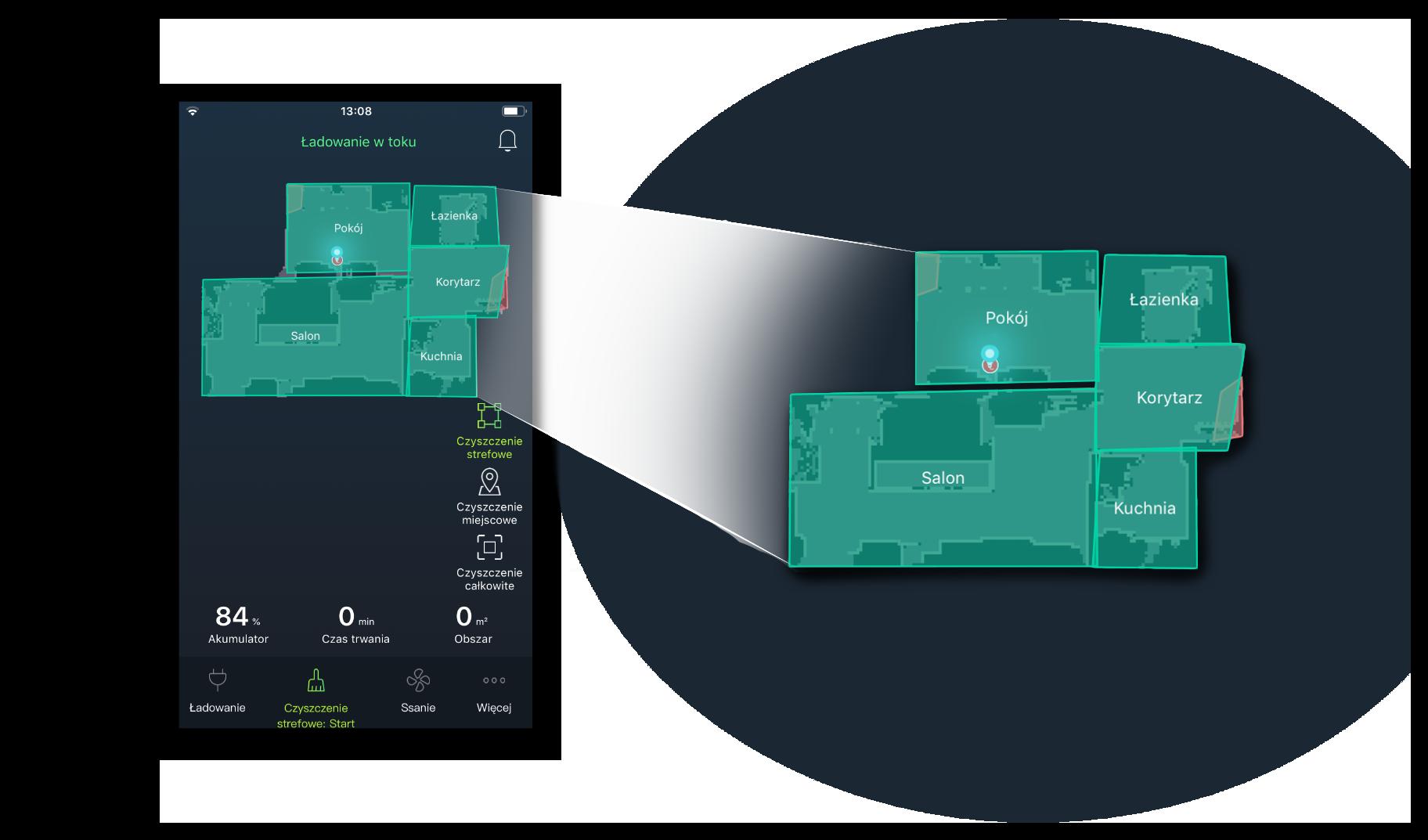 Aplikacja mobilna - tworzenie stref pracy - Automatyczny odkurzacz Moneual MBOT 900